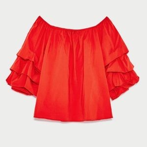Zara Bright Red Layered Bell Sleeve Blouse